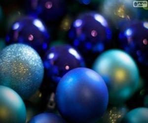 Blue Christmas balls puzzle