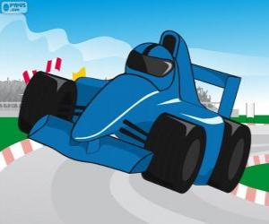 Blue F1 racing car puzzle