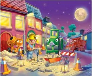 Bob and his friends at night trabajano repairing a city street puzzle