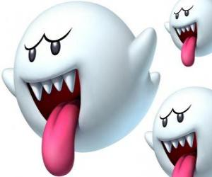 Boo from Super Mario Bros game. The Boos are spectral creatures with sharp teeth and long tongues puzzle