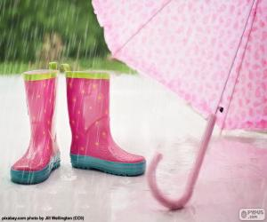 Boots and umbrella pink puzzle
