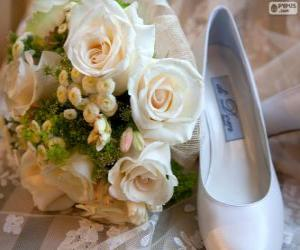 Bouquet and shoe for the bride puzzle