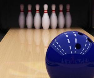 Bowling. Ball rolling towards the bowling pins puzzle