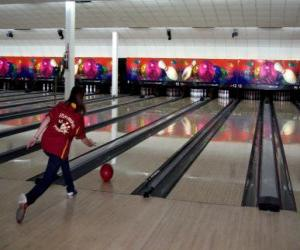 Bowling - Player throwing the ball toward the pins puzzle