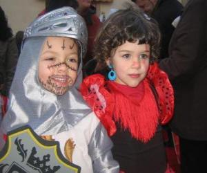 Boy and girl dressed for Carnival puzzle