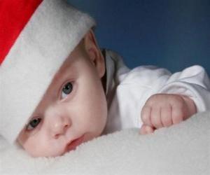 Boy with a Santa Claus hat puzzle