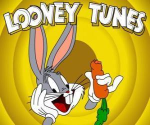 Bugs Bunny, the rabbit hero of the adventures of Looney Tunes puzzle