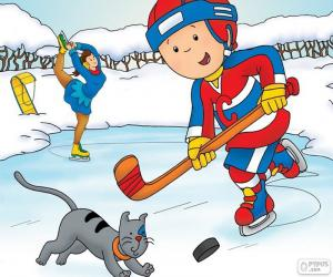 Caillou and Gilbert, hockey puzzle