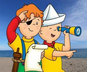 Caillou and Leo playing pirates and searching for treasure with the map puzzle