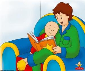 Caillou reads a book with his father puzzle