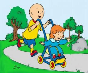 Caillou taking a walk with little sister in the stroller puzzle