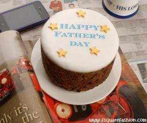 Cake of the day of the father with stars puzzle