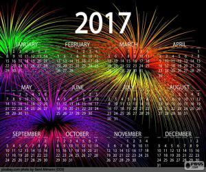Calendar 2017, happy new year puzzle