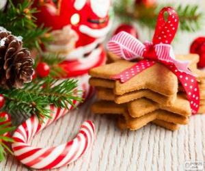 Candy cane and cookies for Christmas puzzle
