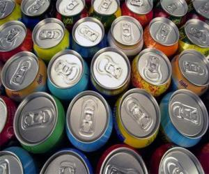 Cans of drink like beer or soft drink with gas puzzle