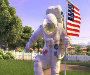 Captain Charles Chuck Baker, hammering the American flag to land on Planet 51 puzzle