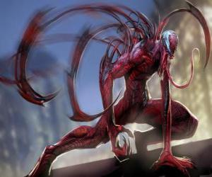 Carnage is a symbiotic supervillain, adversary of Spider-Man and archenemy of Venom puzzle
