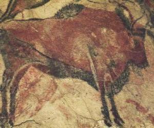 Cave painting representing a buffalo on the wall of a cave puzzle