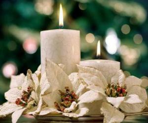 Centerpiece with two candles and white flowers puzzle