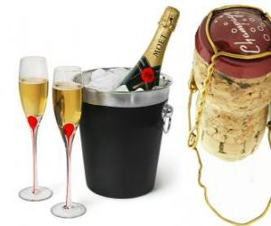 Champagne is a type of sparkling wine produced by the method champenoise in the Champagne region, France. puzzle