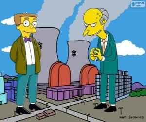 Charles Montgomery Burns and Waylon Smithers, the owner of the Springfield nuclear power plant and his assistant puzzle