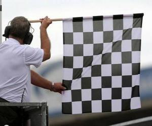Checkered flag, this flag is shown at the end of the race puzzle
