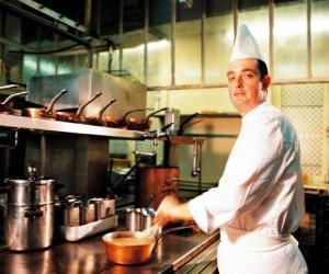 Chef preparing a dish puzzle
