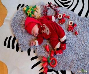 Child dreaming illusion during Christmas Eve puzzle