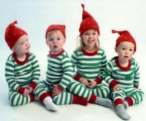 Children dressed up for Christmas puzzle