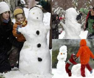 Children playing with a snowman puzzle