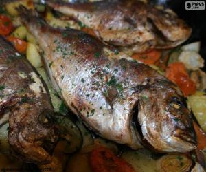 Christmas baked seabream puzzle
