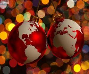 Christmas balls decorated with the world map puzzle