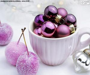 Christmas balls in a cup puzzle