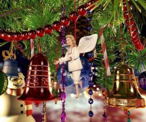 Christmas bells and other ornaments hanging from tree puzzle