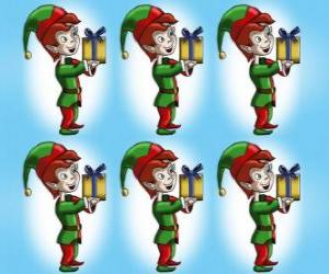 Christmas elf carrying a box of a present puzzle