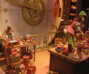 Christmas elves making toys for gifts puzzle