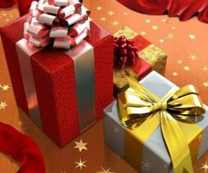 Christmas gifts with ribbons, bows puzzle