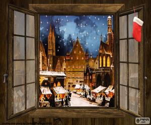 Christmas market, window puzzle