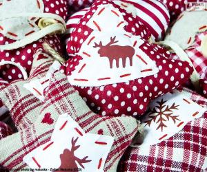 Christmas ornaments, fabric puzzle