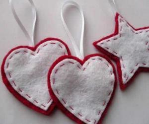 Christmas ornaments in the shape of hearts and stars puzzle