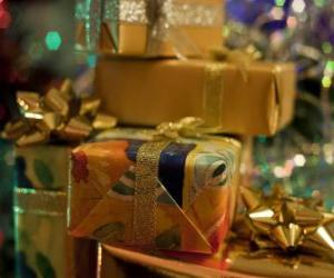 Christmas presents with decorative knots made of ribbon puzzle