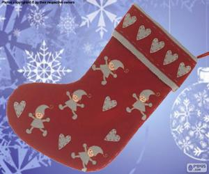 Christmas sock decorated with elves and hearts puzzle