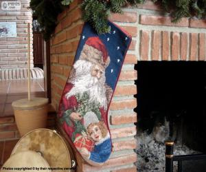 Christmas sock hung on the chimney puzzle
