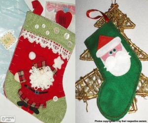 Christmas socks decorated with Santa Claus puzzle