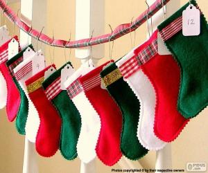 Christmas socks in various colors puzzle