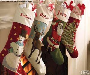 Christmas socks with decoration puzzle