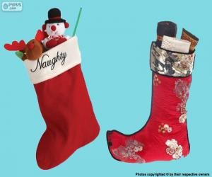 Christmas stockings with gifts inside puzzle