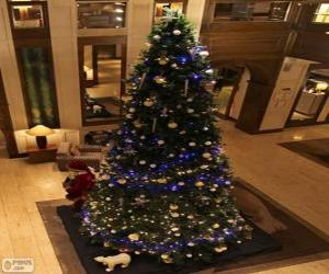 Christmas tree decorated with glittering ornaments puzzle