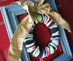 Christmas Wreath made with socks puzzle