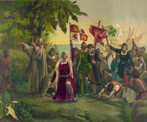 Christopher Columbus with the sword takes possession of new lands puzzle